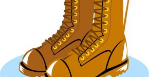 Illustration of lineman boots shoes done in retro style.